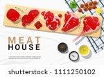 raw beef steaks  tenderloin ... | Shutterstock .eps vector #1111250102