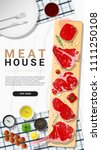 raw beef steaks  tenderloin ... | Shutterstock .eps vector #1111250108