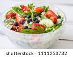 close up of tasty salad with... | Shutterstock . vector #1111253732