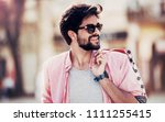 man in shopping. smiling man... | Shutterstock . vector #1111255415
