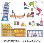 country italy trip guide of... | Shutterstock . vector #1111258142