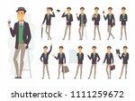 stylish man   vector cartoon... | Shutterstock .eps vector #1111259672