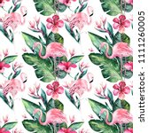 tropical seamless floral summer ... | Shutterstock . vector #1111260005