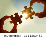 two hands of businessman to... | Shutterstock . vector #1111263452