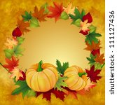 autumn background with leaves...   Shutterstock . vector #111127436