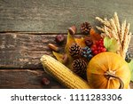autumn leafs with berries and... | Shutterstock . vector #1111283306
