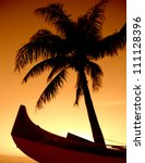 a palm tree and outrigger canoe ...