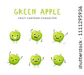 green apple mascot collection | Shutterstock .eps vector #1111295936