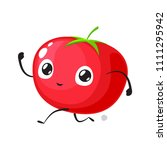 red tomato is running sprint | Shutterstock .eps vector #1111295942