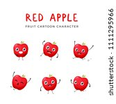 red apple mascot collection | Shutterstock .eps vector #1111295966