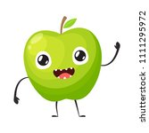 green apple is waving hand | Shutterstock .eps vector #1111295972