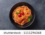 pasta  spaghetti with tomato... | Shutterstock . vector #1111296368
