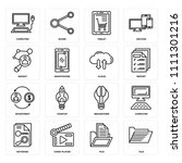 set of 16 icons such as file ... | Shutterstock .eps vector #1111301216