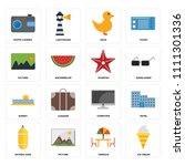 set of 16 icons such as ice...