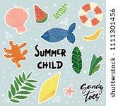 cartoon style summer stickers  ... | Shutterstock . vector #1111301456