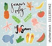 cartoon style summer stickers  ... | Shutterstock . vector #1111301462