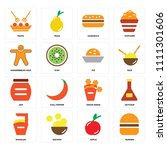 set of 16 icons such as burger  ... | Shutterstock .eps vector #1111301606