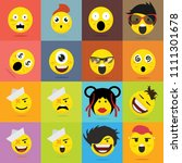funny happy yellow emoji smiley ... | Shutterstock .eps vector #1111301678