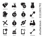 set of 16 icons such as chest...