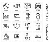 set of 16 icons such as car ... | Shutterstock .eps vector #1111303586