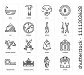set of 16 icons such as sphinx  ...