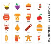 set of 16 icons such as kebab ... | Shutterstock .eps vector #1111304042