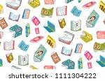 open books reading seamless... | Shutterstock .eps vector #1111304222