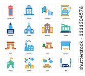 set of 16 icons such as bus ... | Shutterstock .eps vector #1111304576