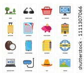 set of 16 icons such as photo ...