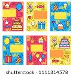 happy birthday set infographics ...   Shutterstock . vector #1111314578