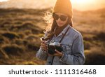 beautiful woman taking picture... | Shutterstock . vector #1111316468