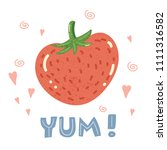 cartoon cute strawberry and... | Shutterstock . vector #1111316582