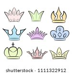 hand drawn crowns logo and icon ... | Shutterstock .eps vector #1111322912