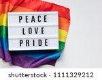 peace love pride lightbox... | Shutterstock . vector #1111329212