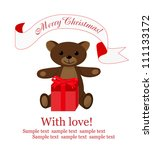 christmas background with teddy ... | Shutterstock .eps vector #111133172