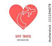 love travel. airplane inside... | Shutterstock .eps vector #1111346078