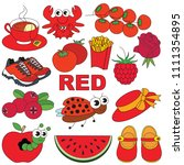 red objects color elements set  ... | Shutterstock .eps vector #1111354895