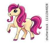 cute little pony with pink hair.... | Shutterstock .eps vector #1111364828