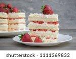 naked fruit cake homemade... | Shutterstock . vector #1111369832
