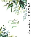 watercolor floral illustration  ... | Shutterstock . vector #1111382465