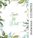 watercolor floral illustration  ... | Shutterstock . vector #1111382522