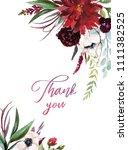 watercolor floral illustration  ... | Shutterstock . vector #1111382525