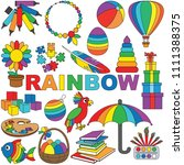 rainbow objects color elements... | Shutterstock .eps vector #1111388375
