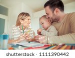 mom and dad drawing together... | Shutterstock . vector #1111390442