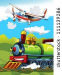 The locomotive and the flying machine - illustration for the children 10 - stock photo