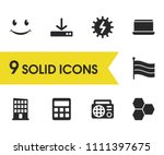 universal icons set with light  ...
