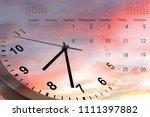 clock and calendar in bright... | Shutterstock . vector #1111397882