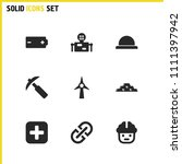 service icons set with battery  ...