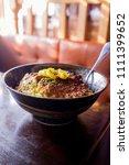 japanese crispy pork katsudon... | Shutterstock . vector #1111399652