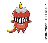 vector funny cartoon cute red... | Shutterstock .eps vector #1111400015